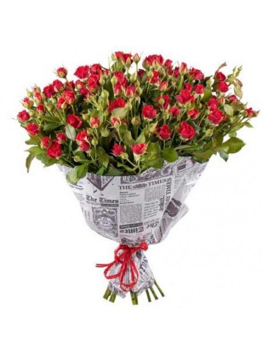 Монобукет из 25 кустовых красных роз