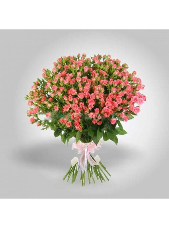 Монобукет из 25 кустовых нежно розовых роз