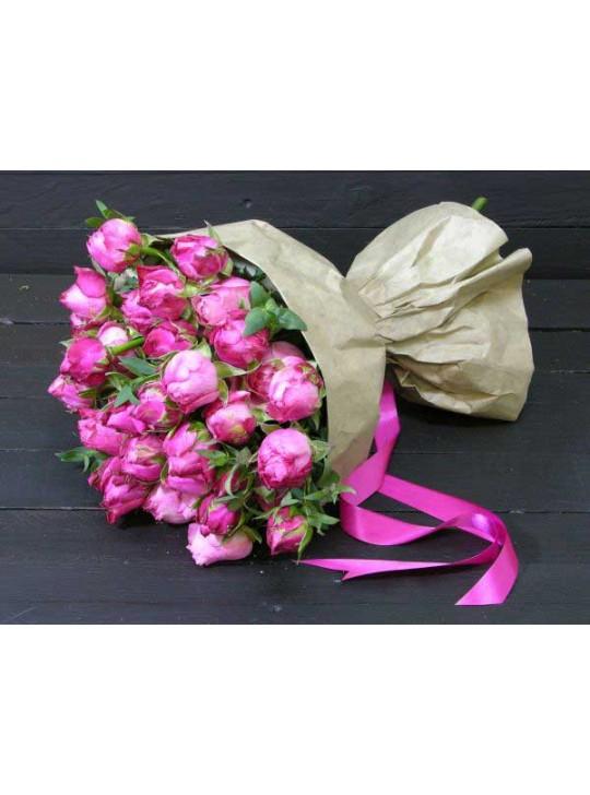 Монобукет из 25 пионовидных розовых роз