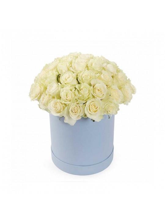 Монобукет из 51 белых роз в шляпной коробке