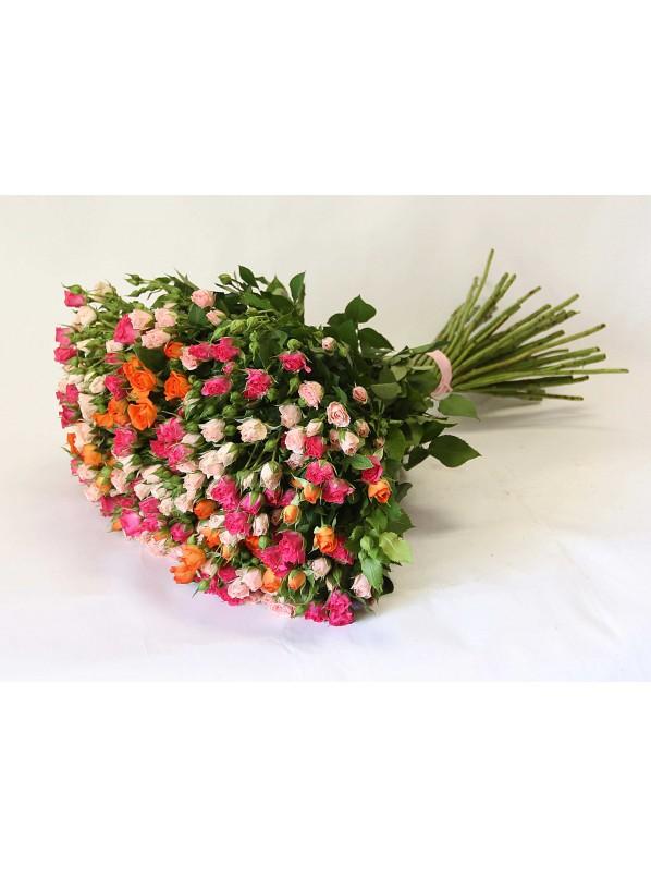 Монобукет из 51 кустовых разноцветных роз