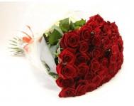 Монобукет из 51 красных роз в пленке