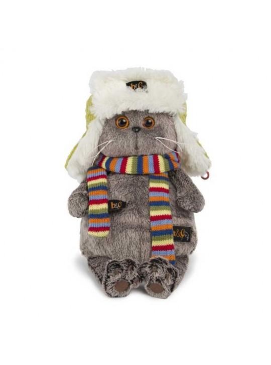 Басик в зимней шапке и шарфе 22 см