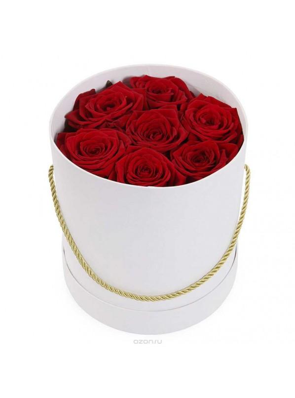 Монобукет из 11 красных роз в шляпной коробке